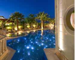 Night exterior pool